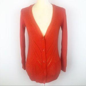 Anthropologie Moth Orange Button Front Sweater